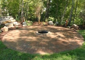 Pavers backyard and in-ground fire pit