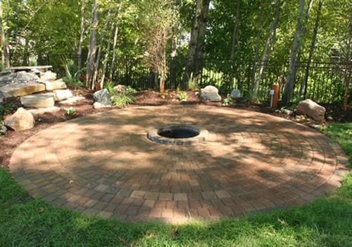 Pavers Backyard And In Ground Fire Pit