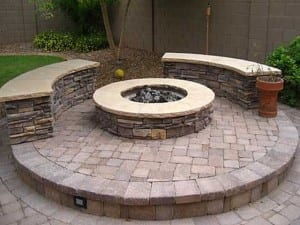 Stone and Flagstone Fire Pit Benches - Northern California