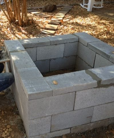 Cinder block fire pit cost effective alternative for How to build a fire pit with concrete blocks