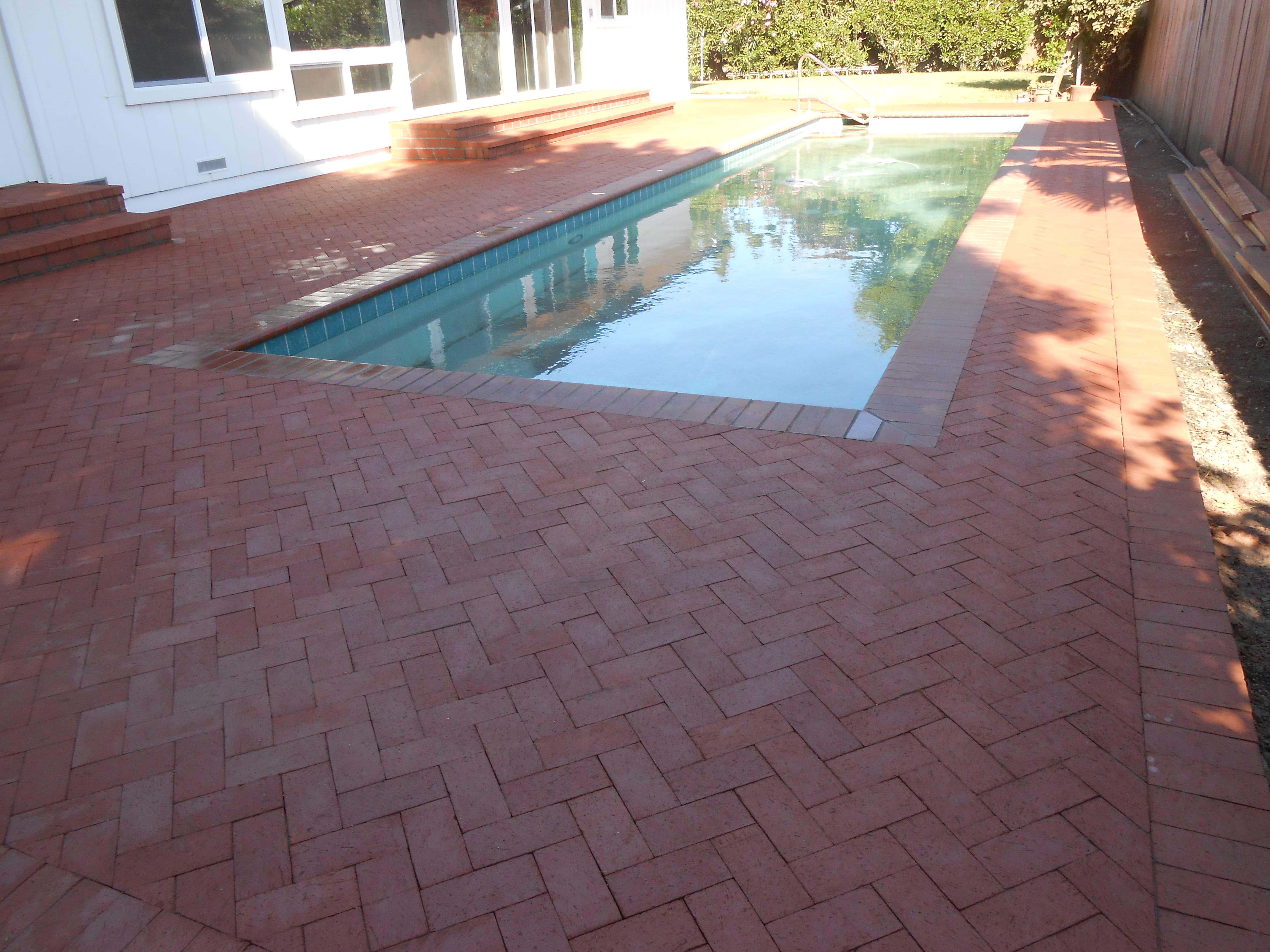 Brick Pool deck done and the make over is finished for these homeowners! Sonoma County