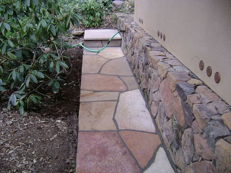 Flagstone sidewalk, landing and stone veneer in Calistoga