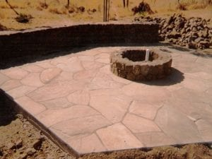 Flagstone Patio with Firepit and wall installed in Sonoma County