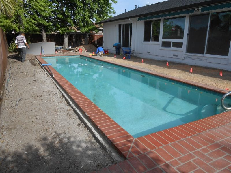 Brick pool deck built in Solano County, Vallejo, Fairfield