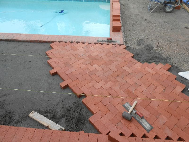 Bricks Pool Deck Corner installation