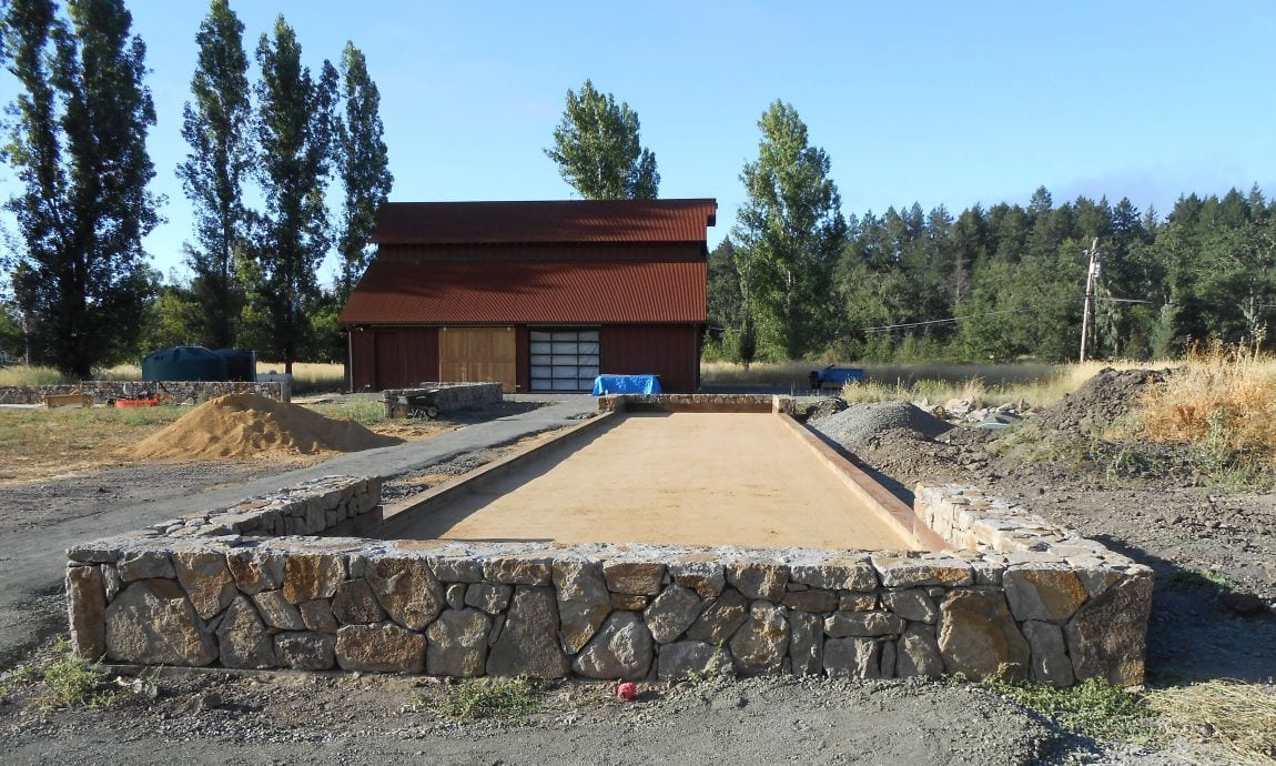 Natural stone and bocce court project finished. Happy homeowners Bay Area, NorCal
