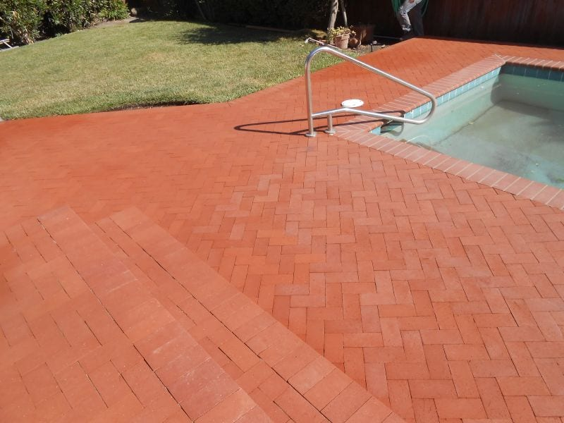 Steps, Pool Deck and patio installed with bricks in Sonoma County