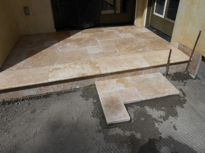 Travertine installaiton of steps and landing