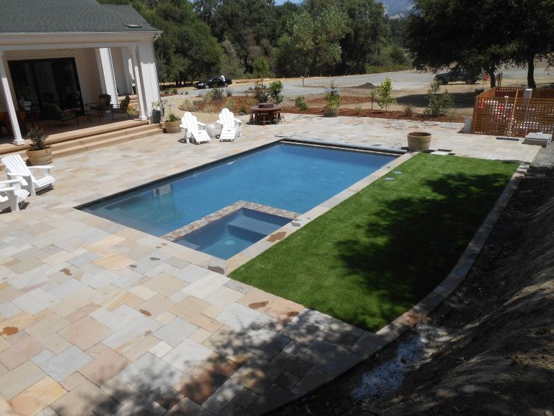 Travertine installation of patio and pool deck in Calistoga, Napa County