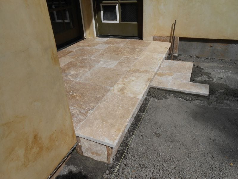 Travertine landing installation in Santa Rosa CA