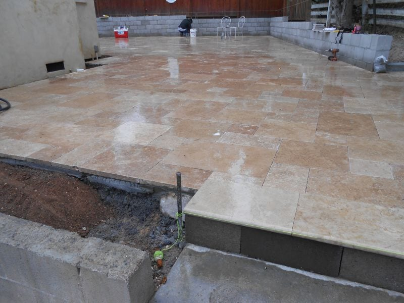 patio and steps installed with travertine in Contra Costa, Lake County